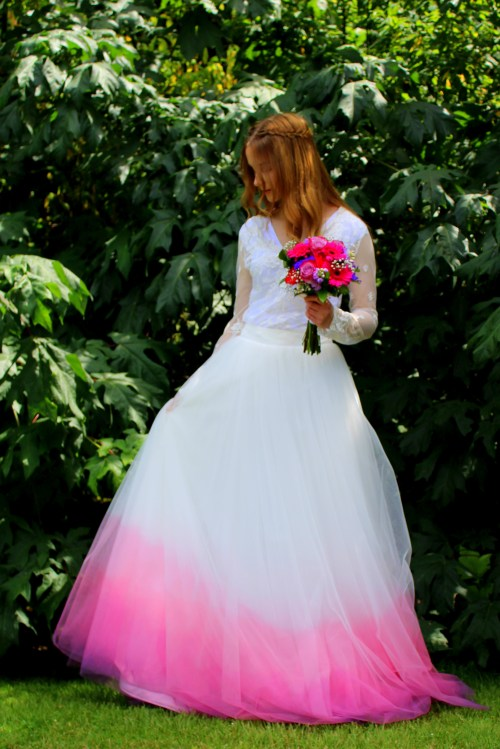 Pink Purple Ombre Wedding Dress Maxi Tulle Skirt