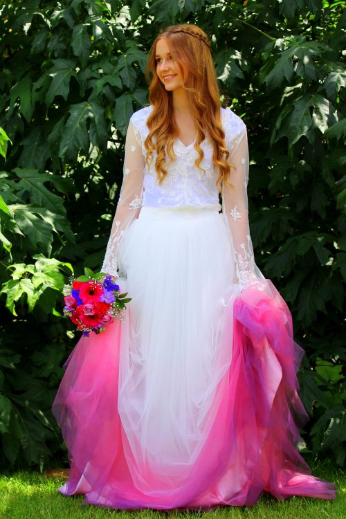Pink Purple Ombre Wedding Dress Tulle Skirt Hem