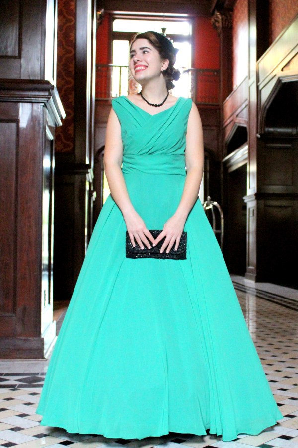Emmaline Vintage Inspired Green Modest Formal Prom Dress
