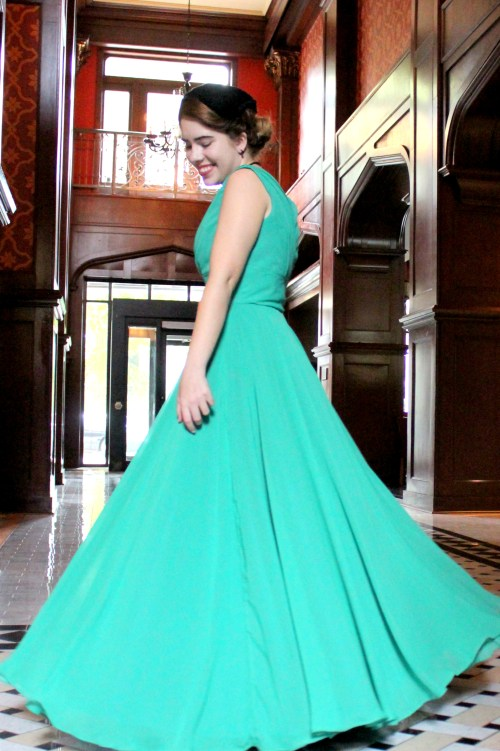 Emmaline Vintage Inspired Green Modest Formal