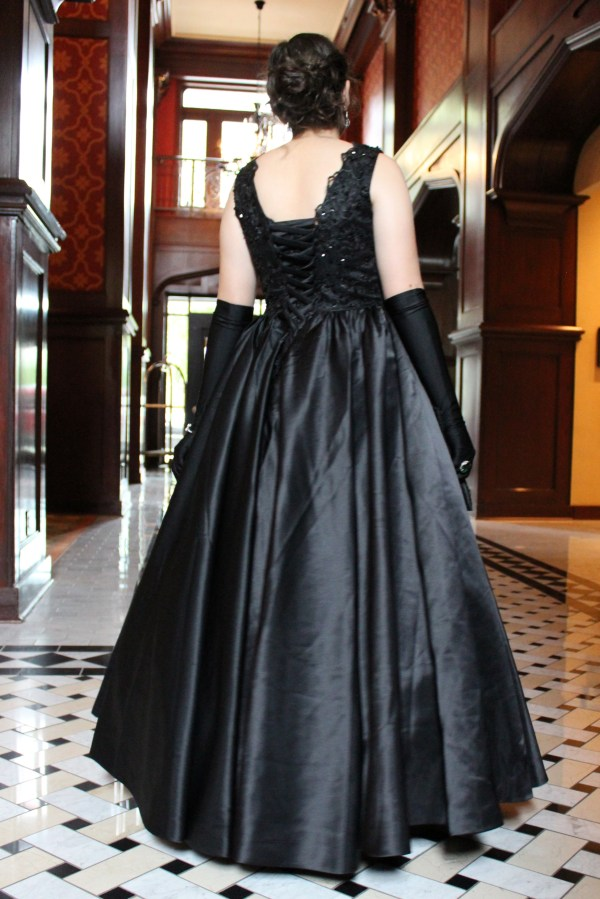 Lace Up Back Black Lace Beaded Duchess Satin Vintage Inspired Modest Formal Prom Dress
