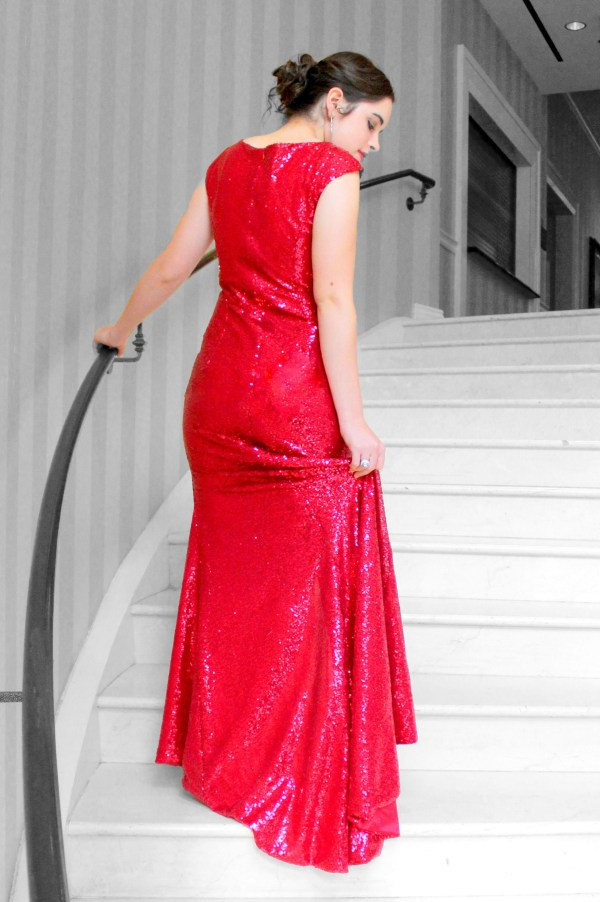 Back of Red Sequin Modest Formal Prom Dress Cap Sleeve