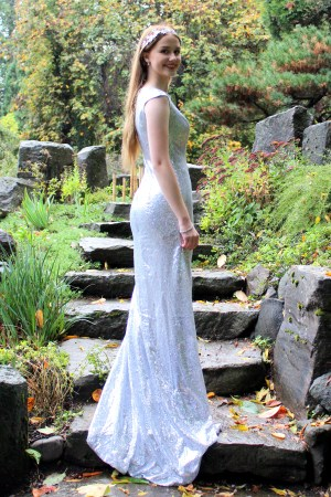 Silver Sequin LDS Modest Prom Dress with Sleeves