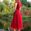 Red Tea Length Modest Prom Dress Sleeves Back View