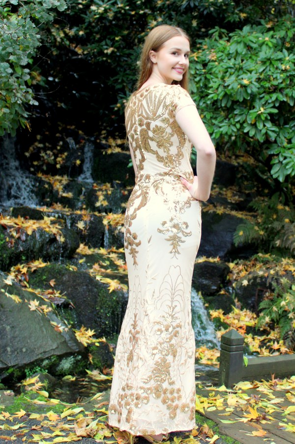 Gold Sequin Modest Prom Dress Sleeves Back View