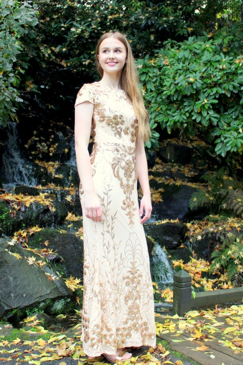 Gold Sequin Modest Prom Dress Sleeves Sheath Skirt