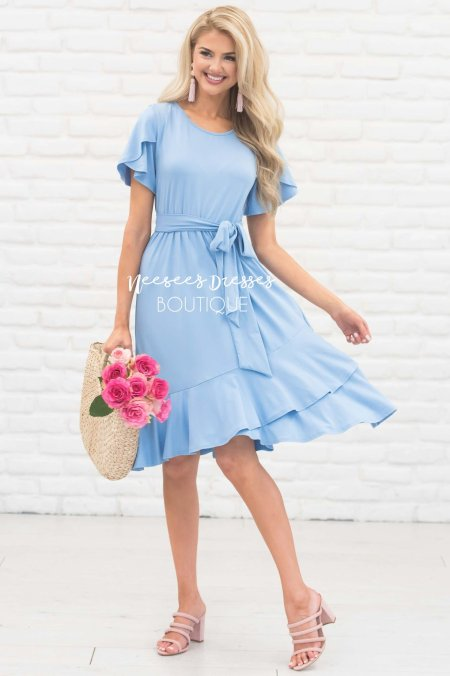 Baby Blue Modest Dress
