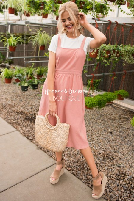 Coral Modest Overall Dress