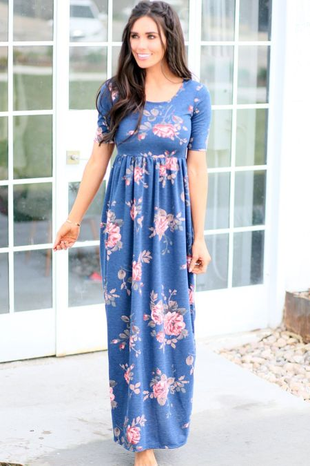 Mikarose Blue Floral Dress