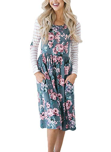 Striped Floral Modest Midi Dress