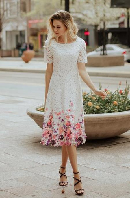 White Lace Floral Hem Modest Dress