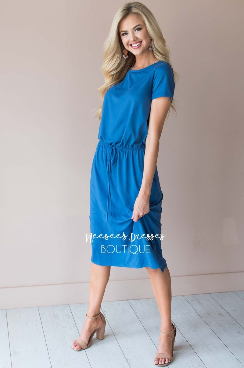 Neesees Dresses Modest Blue Jersey Dress