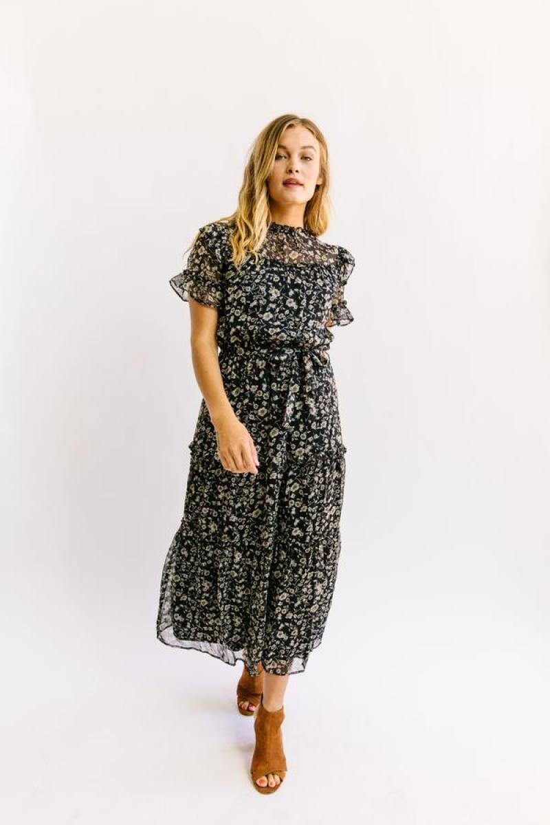 Nest Boutique Modest Black Floral Dress
