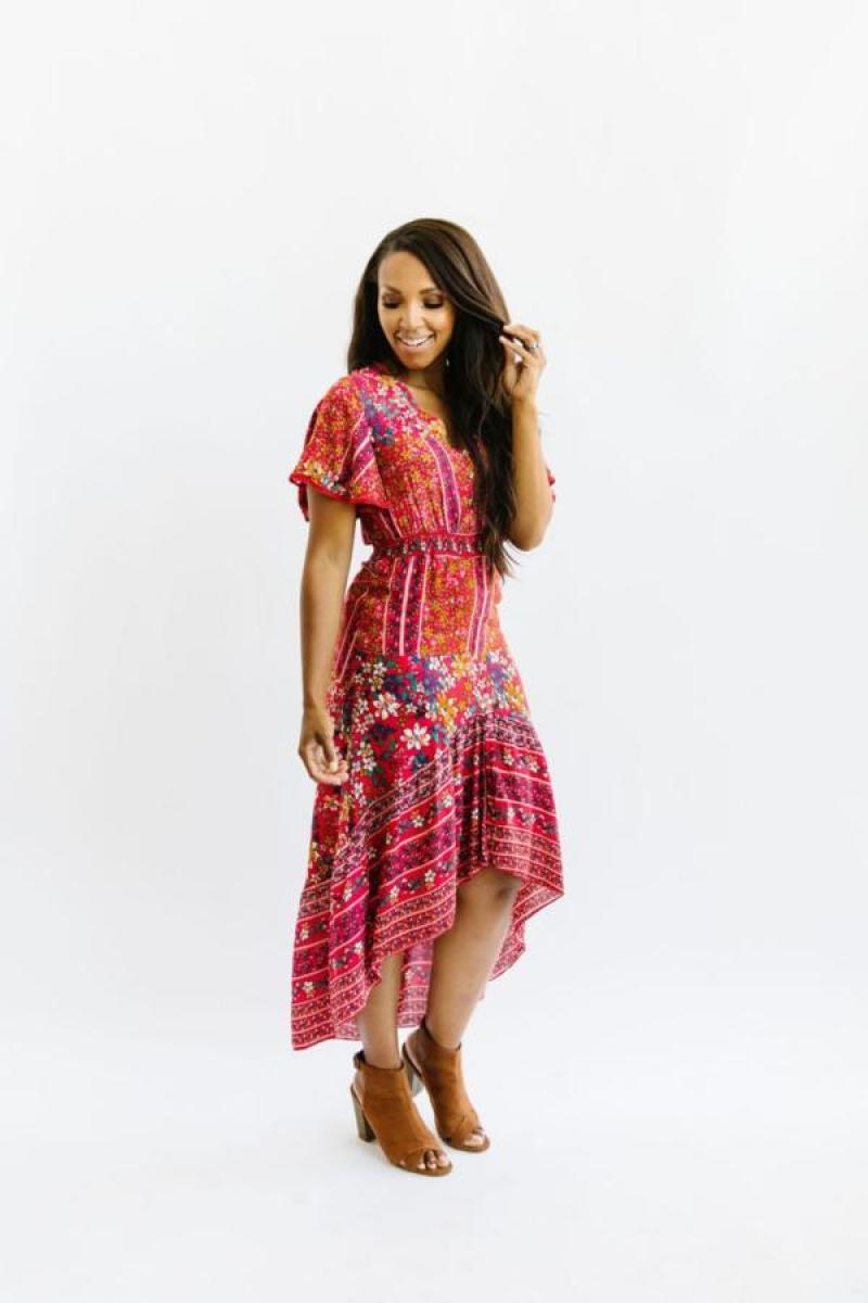 Nest Modest Red Print Dress
