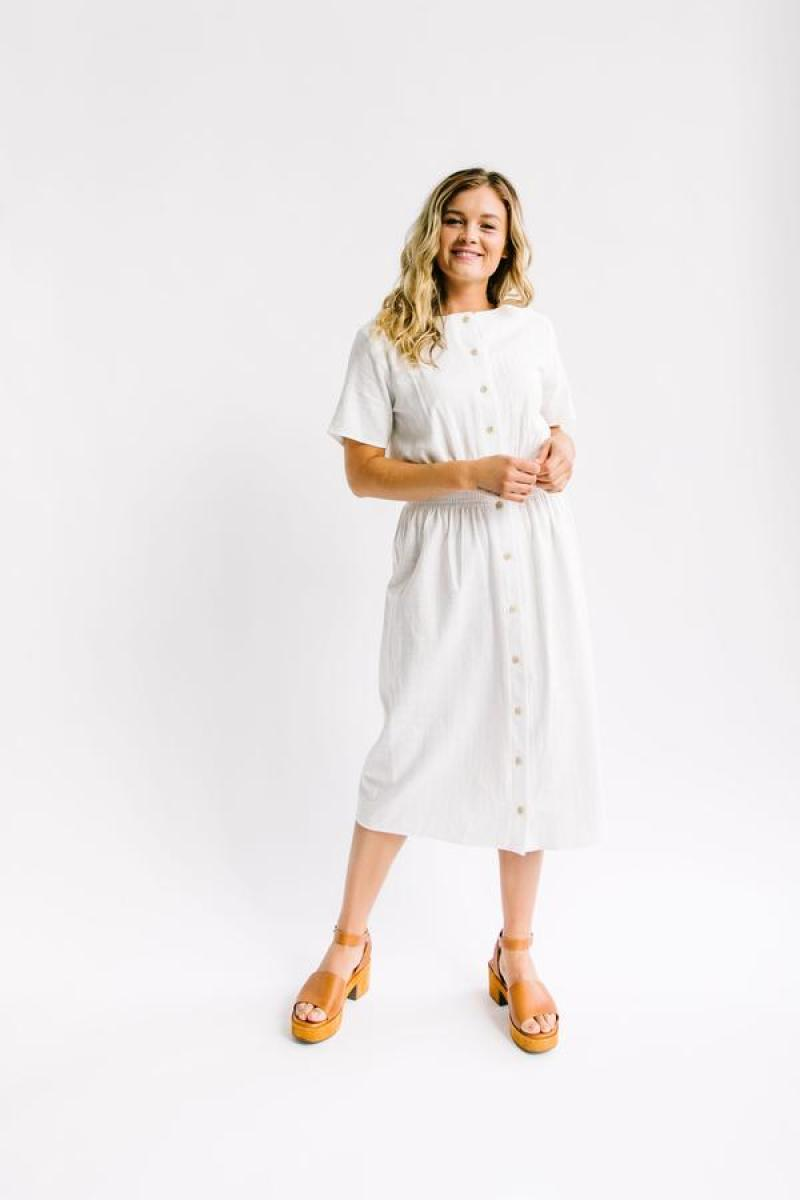 Nest Modest White Summer Button Up Dress