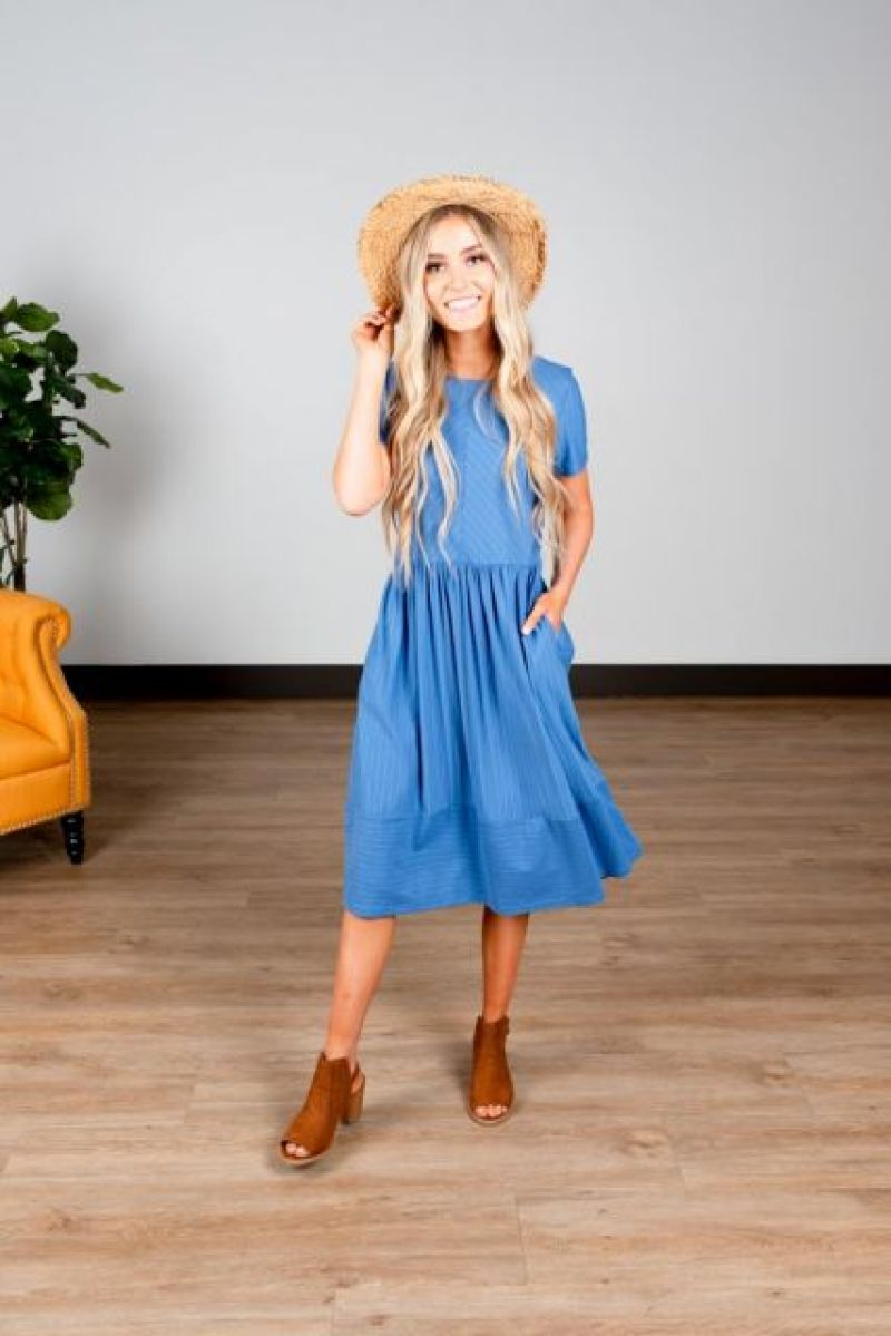 Sweet Salt Clothing Blue Modest Summer Dress