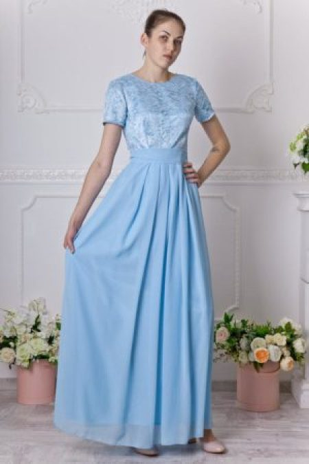 Long riverside blue bridesmaid dress with cap sleeves Modest lace dress floor length Blue prom dress with sash