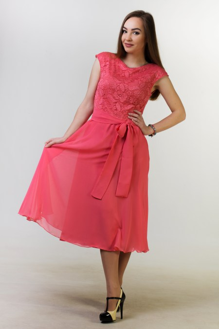 Coral Lace Modest Homecoming Dress Cap Sleeves