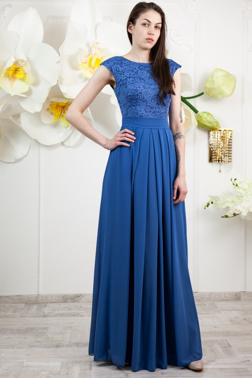 Marina Ocean Blue Lace Modest Prom Dress