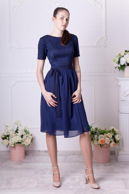 Navy Lace Modest Homecoming Dress