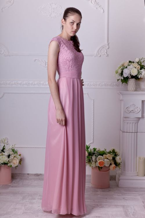 Sideview Flora Dusty Rose Lace Modest Prom Dress
