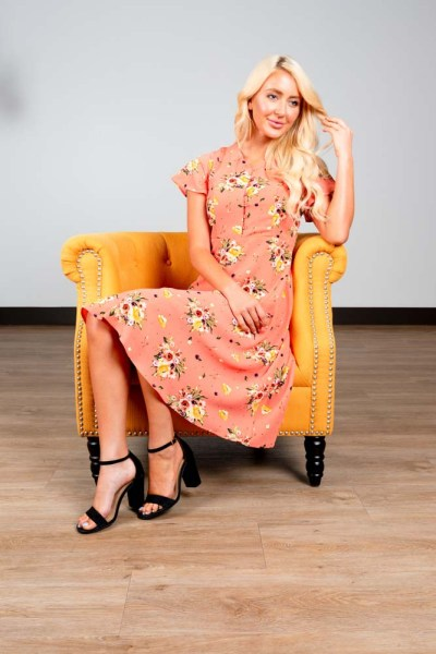 Sweet Salt Clothing Peach Floral Dress