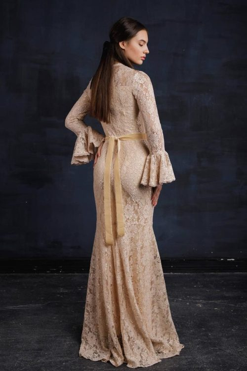 Back Beige Lace Bell Sleeve Modest Prom Dress Fitted Skirt
