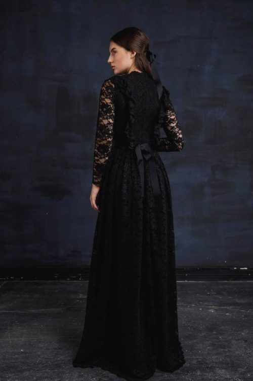 Back Black Lace Modest Prom Dress Long Sleeves