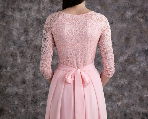 Back of Dawn Blush Pink Lace Modest Prom Dress Sleeves
