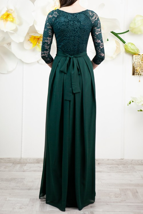 Back of Felicity Dark Green Lace Modest Prom Dress Sleeves