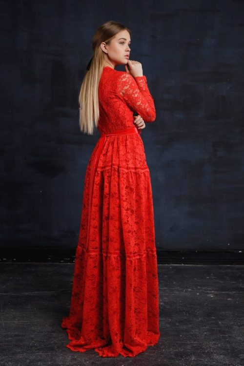 Back Red Lace Modest Prom Dress with Long Sleeves