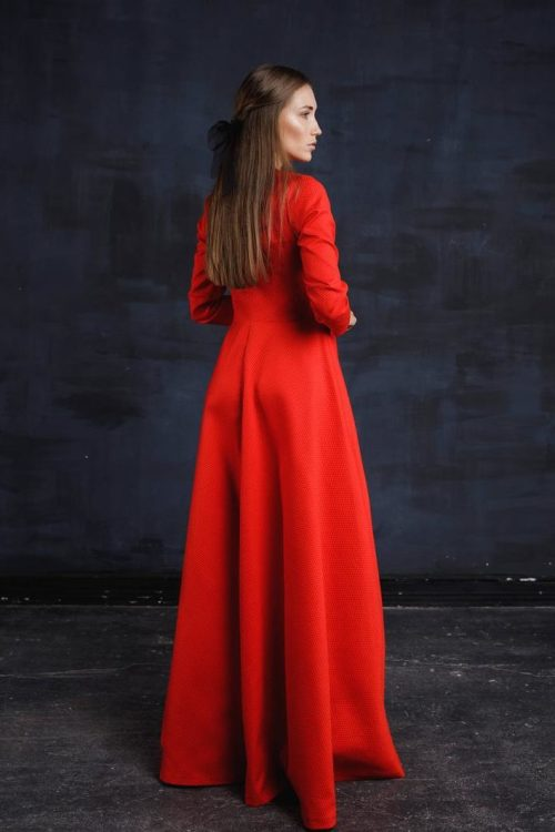 Back Red Tznius Embroidery Modest Formal