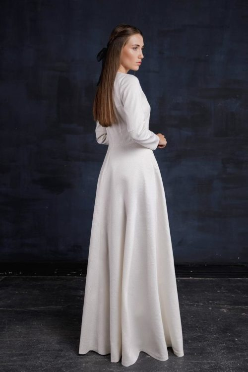 Back Tznius Ivory Wedding Dress with Embroidery.