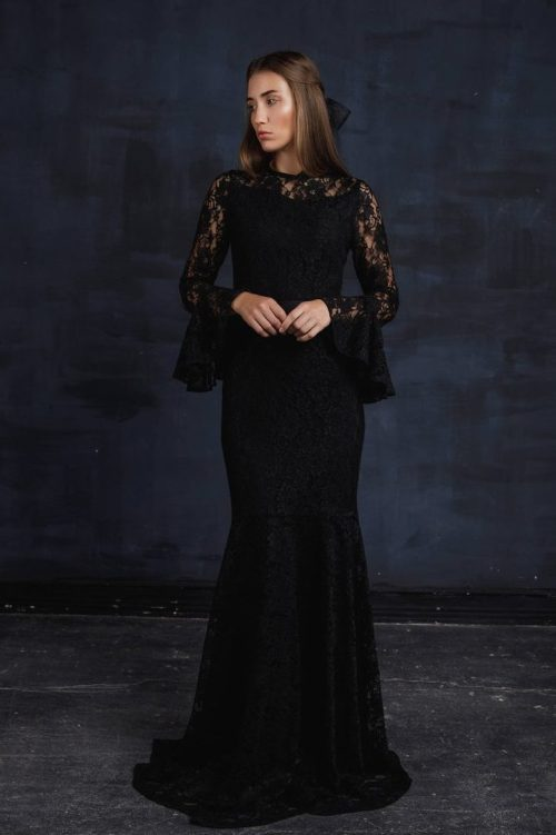 Black Lace Bell Sleeve Modest Prom Dress