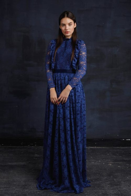 Cerulean Blue Lace Modest Prom Dress