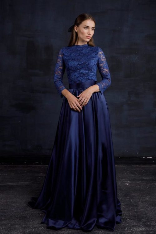 Close Up Two Piece Navy Blue Lace Silk Modest Formal