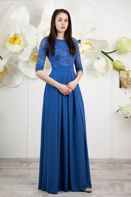 Karen Marine Blue Modest Prom Dress