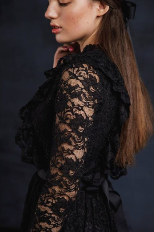 Lace Close Up Black Lace Modest Prom Dress Long Sleeves