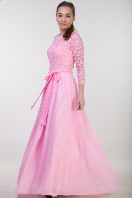 Lindsay Pink Lace Modest Prom Dress