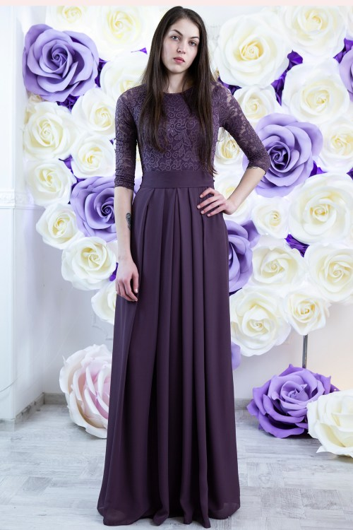 Melissa Dusty Purple Modest Prom Dress Sleeves