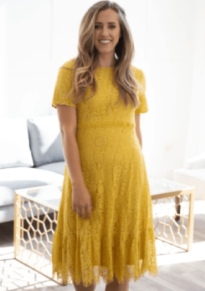 Modest Sunshine Yellow Lace Dress