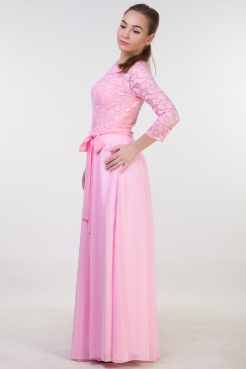 Side View Lindsay Pink Lace Modest Prom Dress