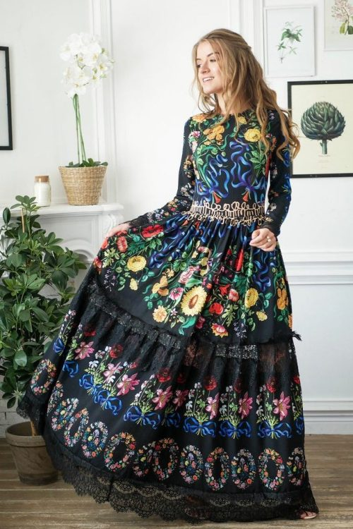 Skirt Black Floral Long Modest Prom Dress Long Sleeves