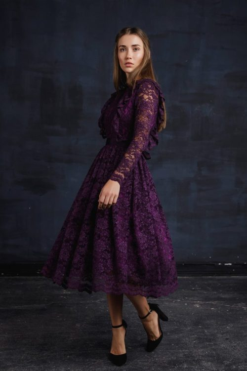 Violet Lace Modest Tea Length Homecoming Dress