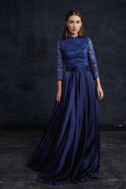 Two Piece Navy Blue Lace Silk Modest Prom Dress