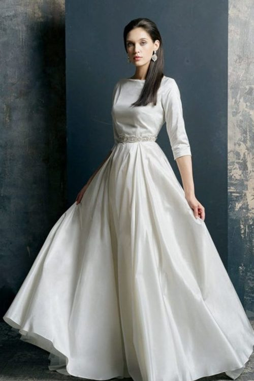 A-line Silk Tznius Modest Wedding Dress Pockets