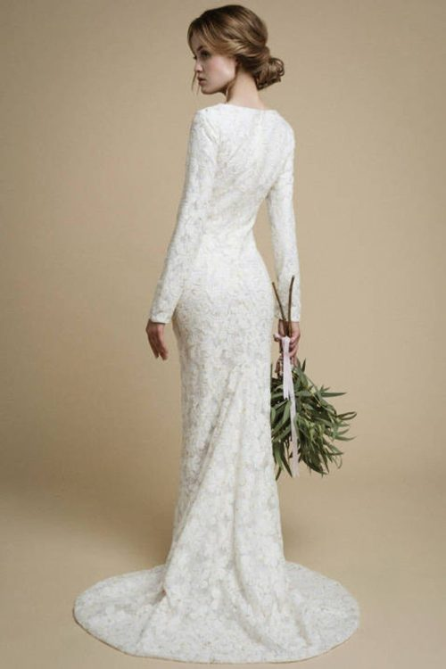 Back Ivory Lace Mermaid Tznius Modest Wedding Dress