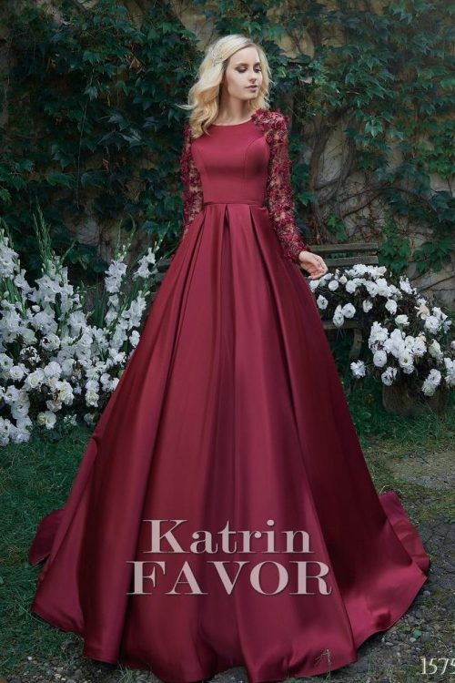 Burgundy Modest Prom Dresses Lace Sleeve