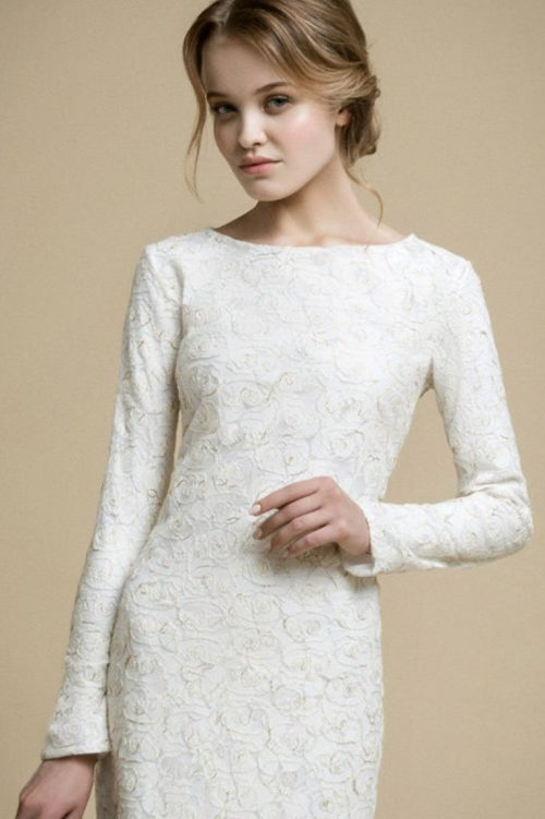 Close Up Ivory Lace Mermaid Tznius Modest Wedding Dress