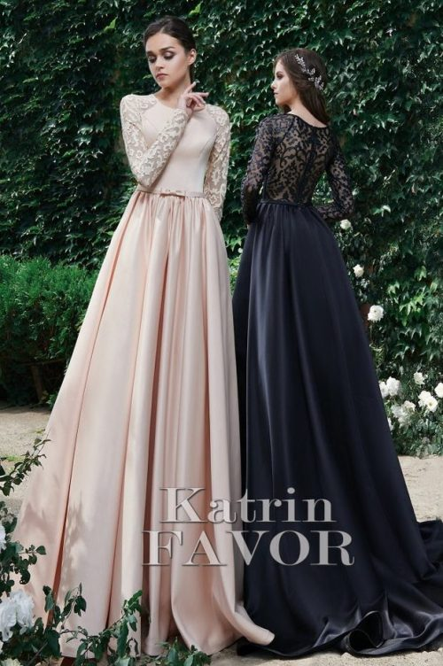 Cream Black Lace Satin Long Sleeve Modest Prom Dresses